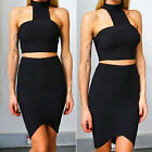 Summer Ladies Women Two Piece Crop Top and Skirt Set Sexy Bandage Bodycon Dress