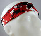 NEW! Super Soft Red Black White Digital Camo Headband Sports Running Workout