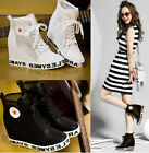 Chic Womens Hidden Heels Lace Up Mesh Hollow Out Fashion High Top Sneaker Shoes