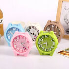 Cute Colorful Alarm Clock Round Shape Mini Quartz Desktop Plastic Needle Clock