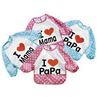 Indeed Baby Bibs I Love Papa Mama Long Sleeves Feeding Bibs Pattern Random JRAU