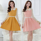 Fashion Womens Lace Dress Preppy Peter pan Collar Long Sleeve Dress Elegant GIFT