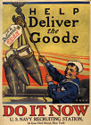 Bomb Help Deliver the Goods Do it Now Soldier War Vintage Poster Repro FREE S/H