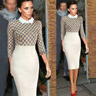 Womens 3/4 Sleeve Bodycon Career Work Casual Cocktail Party Evening Pencil Dress
