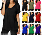 Womens Short Sleeve Baggy Fit Top Ladies Turn Up Loose  Top T Shirt Plus SizeUK