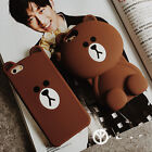 3D cartoon Line Friends bear soft silicone case cover for  iphone 7 6 6S plus 5S
