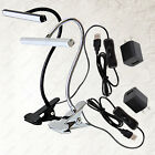 6W LED Clip Clamp ON/OFF Button Plug light Office Lamp Fixture USB+ Power Supply