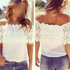 Women Off-Shoulder Casual Tops Blouse Lace Crochet Chiffon Splice Shirt White