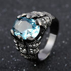 Size 8,9,10,10,12 Solitaire Aquamarine Black 18K Gold Filled Rings For Mans