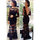 Hot Sexy Womens Back V Neck Dress Lace Bodycon Cocktail Party Long Dress  USWB
