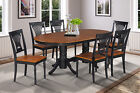 5 PC, 7 PC, or 9 PC OVAL DINETTE DINING ROOM TABLE SET IN BLACK & CHERRY