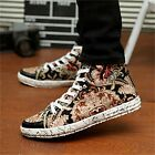 Mens Flat Lace Up Floral Printed Casual Hi High Top Ankle Boots Trainers Size