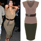 Womens Kim Celeb V Neck Turn Up Sleeve Belted Top Bodycon Skirt Set CoOrd
