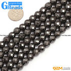 Round Faceted Gemstone Magnetic Black Hematite DIY Crafts Making Loose Beads 15""