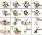 925 Sterling Silver Cherry Blossom Flower Clip Fit European Bead Charm Bracelet