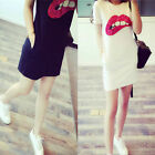 Lady Fashion Summer Women Short Sleeve Sequins Lip T-Shirt Long Tops Dress New