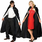Unisex Long Velvet Cape Rubies Halloween Vampire Gothic Fancy Dress Accessory