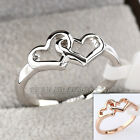 Double Hearts Fashion Band Ring 18KGP Size 5.5-8