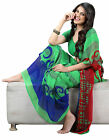 Fancy Scenic Green Colored Printed Faux Georgette Saree 14012B By triveni