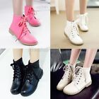 Womens Ladies Lace Up Low Heel Military Combat Ankle Boots Shoes Plus Size 215