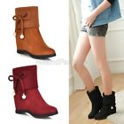 Ladies Faux Suede Knitted Cuffed Bow Tie Concealed Wedge Ankle Boots Shoes 1025