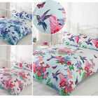 Tropical Nature Humming Birds Duvet Cover Set With Pretty Flowers & Butterfly