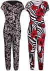 Womens Plus Size Floral Paisley Print Ladies Sleeveless Gather Playsuit Trousers