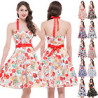 SWEET FLORAL/Cherry Rockabilly Vintage Swing Evening 50s Retro Pin Up Prom Dress
