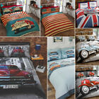 Classic Retro Cars, VW Camper Van, Scooter, Mini GT Duvet Quilt Cover Bedding