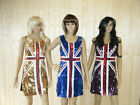 BLUE UNION JACK ENGLAND BLING SEQUINNED LADIES FANCY DRESS COSTUME SIZE 8-12