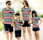 Summer Casual Family children Rainbow striped woman man boy girl Outfits 1sets