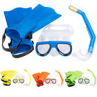 3pcs Panoramic Snorkeling Diving Mask Fins Flippers Snorkels Set Kit Fit 10-16Y