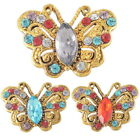 1PC Rhinestone Crystal Snap Button Gold Plated Butterfly Fit DIY Bracelet Chic
