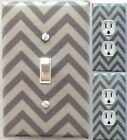 Chevron grey custom Light Switch outlet and wall plate covers room decor