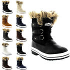 Womens Fur Cuff Lace Up Rubber Sole Short Winter Snow Rain Shoe Boots UK 3-10