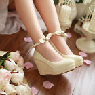 Romantic Princess Wedge Bead With The Top Bowknot Straps Wedding Shoes Pumps