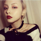 Fashion Collar Punk Goth Cross Choker Necklace Ring Harajuku Leather Neck Ring