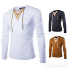 New Mens Stylish Tops Slim Fit Fashion V Neck T-shirts Muscle Shirts Long Sleeve
