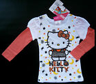 NWT: New Hello Kitty White Orange Sparkle Layered Long Sleeve Shirt, 2T, 3T, 4T