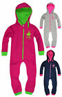 Girls Full Length Hoodied Onesie Kids All In One Jumpsuit New Ages 2-13 Years