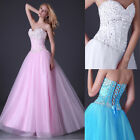 PRINCESS Long Beaded Corset Wedding Prom Ball Evening Gown Dress Stock Size 6-20