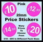 20mm Pink Shop Price Point Stickers / Sticky / Swing Tag Labels £10 to £95 POS