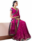 Sophisticated Magenta Colored Border Worked Faux Georgette Saree