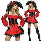Sexy Women Red Pirate Halloween Costume Party Dress Cosplay Witch Fancy Outfit