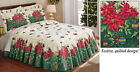 Collections Etc Deck The Halls Poinsettia Christmas Bedspread