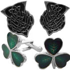 Glen Esk Scottish Highland Kilt Enamelled Cufflinks - Thistle & Shamrock