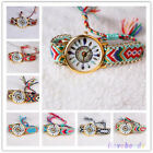 Womens Thread Braided Weaved Leather Dream Catcher Wrist Watch Bracelet Gift