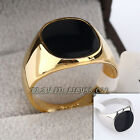 A1-R041 Men's Fashion Black Glaze 14mm Width Band Ring 18KGP Size 7-11.5