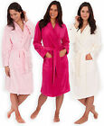 Ladies Plain Microfleece Dressing Gown New Soft Womens Cosy Bath Robe Size S-XL