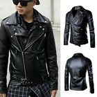Fashion Motorbike Leather Jacket Motorcycle Coat MENS Winter Trench Outwear New